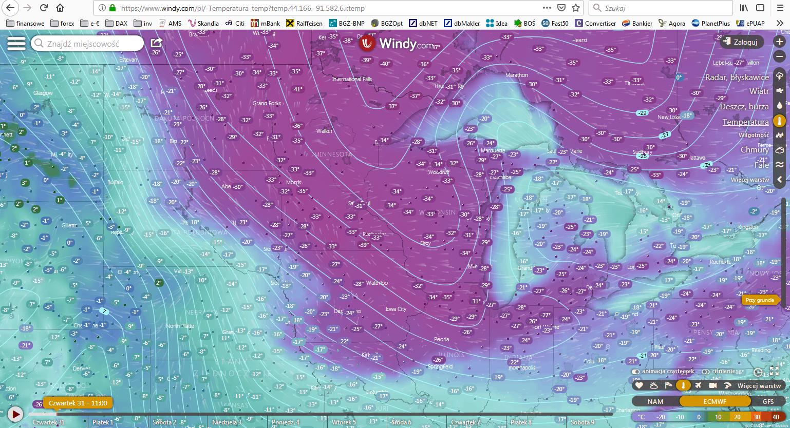 mapa temperatur w USA źródło: www.windy.com