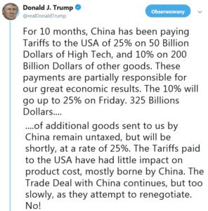 Donald Trump o podwyżce ceł
