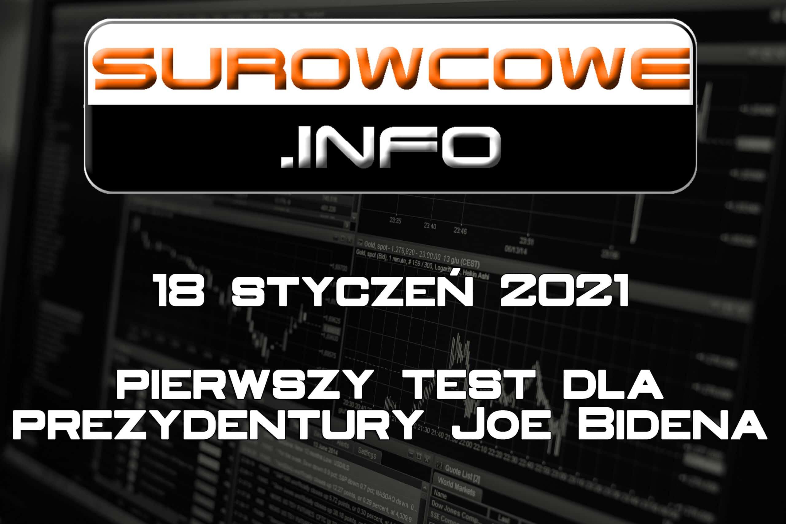 surowcowe info 18 styczeń 2021 - pierwszy test dla prezydentury Joe Bidena