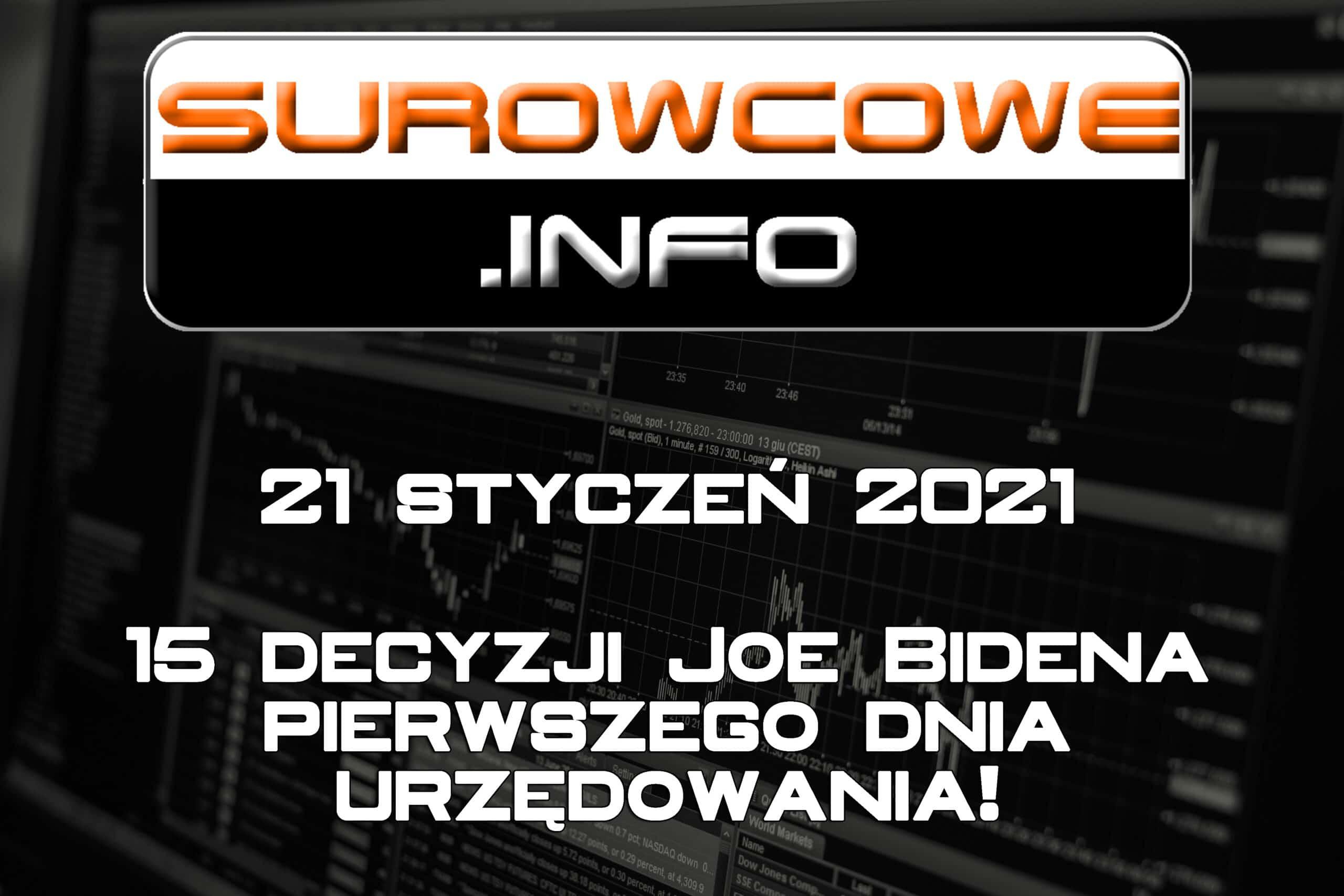 surowcowe info 18 styczeń 2021 - 15 decyzji Joe Bidena pierwszego dnia urzędowania!
