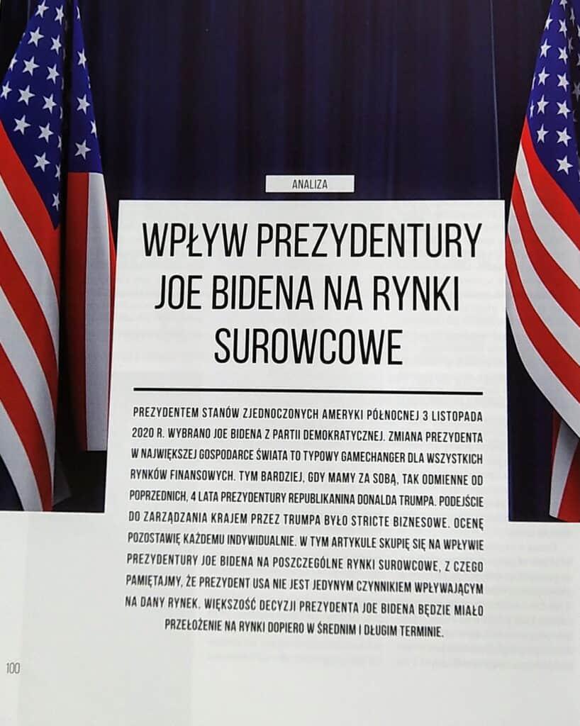 """kwartalnik INWESTOR (grudzień 2020 - luty 2021) - """"Wpływ prezydentury Joe Bidena na rynki surowcowe"""""""