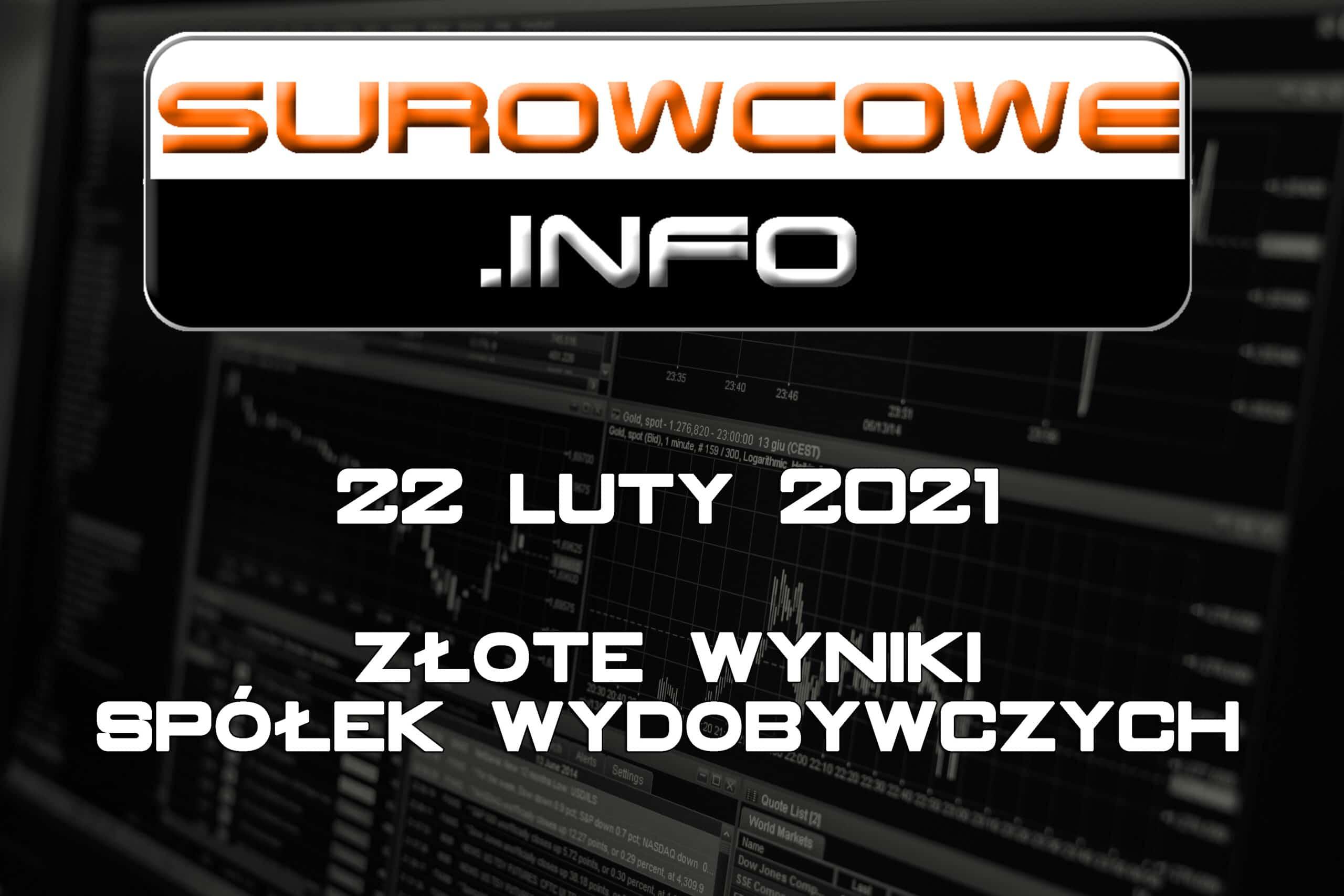 Surowcowe.info 22 luty 2021 – złote wyniki spółek wydobywczych